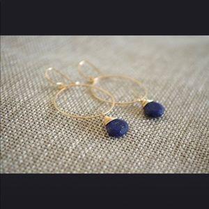 Lapis Lazuli Circle hoop earring everyday evening